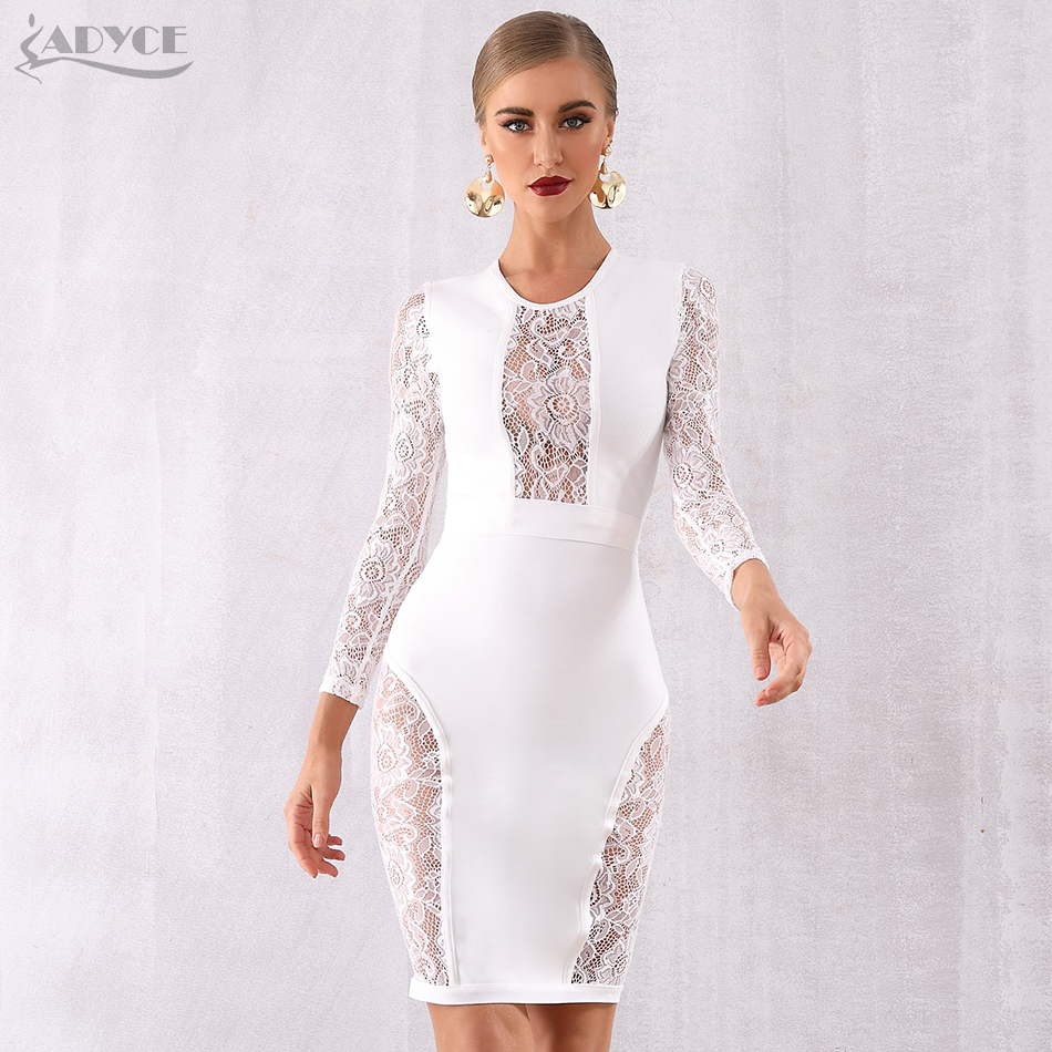 Adyce New Winter White Lace Bandage Dress Women Hot Sexy Hollow Out Long Sleeve Club Dress