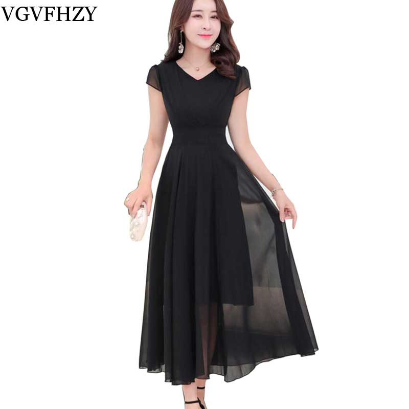 0224959dc0 new 2018 Summer New Bohemian Beach Long Chiffon Dress Women Robe Femme  Longue V-Neck