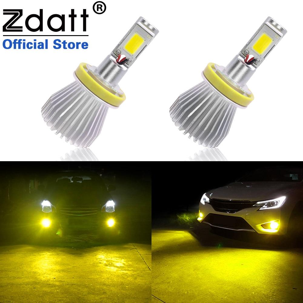 Zdatt 2Pcs 3000K H8 H9 H11 Led Fog Lamp Headlight Bulbs 60W 6000LM Car Led Fog Lights 12V Kit Golden Yellow Automobiles