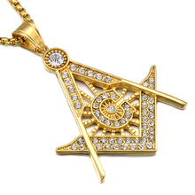HIP Hop Iced Out Crystal Masonic Freemasonry Pendants Necklaces Bling Gold Stainless Steel Chain Accessories for Men Jewelry