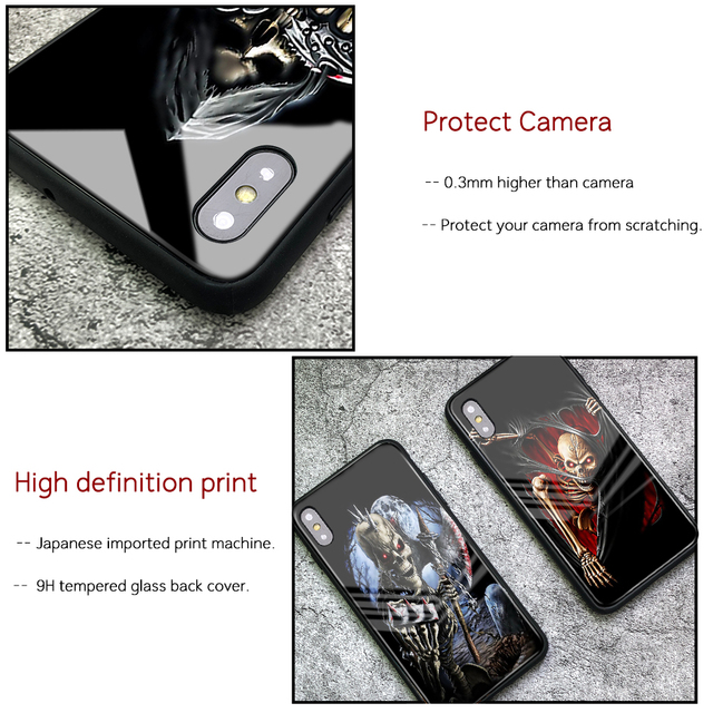 3D SKULL LUXURY TEMPERED GLASS IPHONE CASE (9 VARIAN)