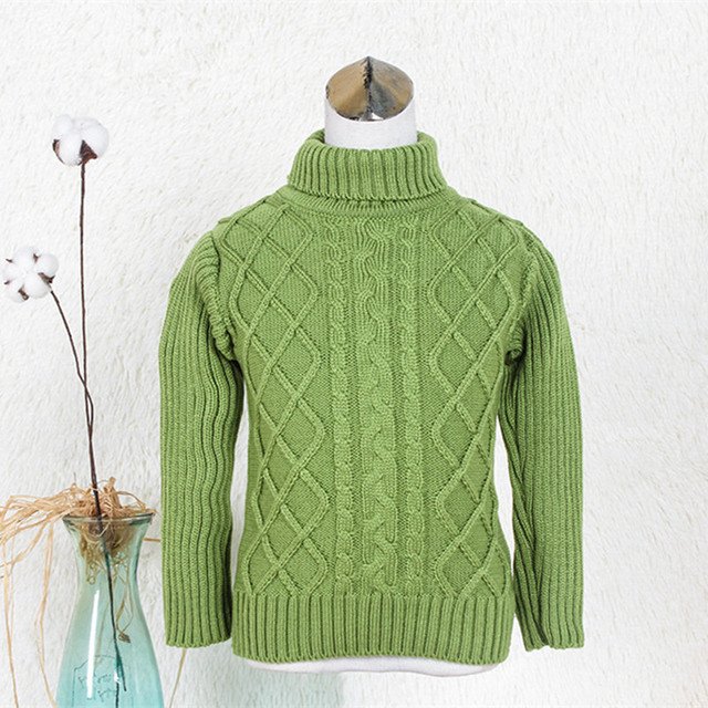 Children Sweaters Knitted Cardigan Thick Turleneck Sweater for ...