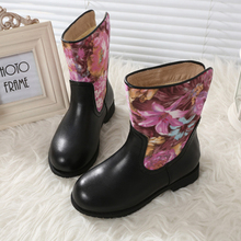 High Quality 2016 Winter Fashion Printing Boots Zip Girls Shoes Kid Snow Boots Waterproof High Boots Warm Princess Boots SHXD040