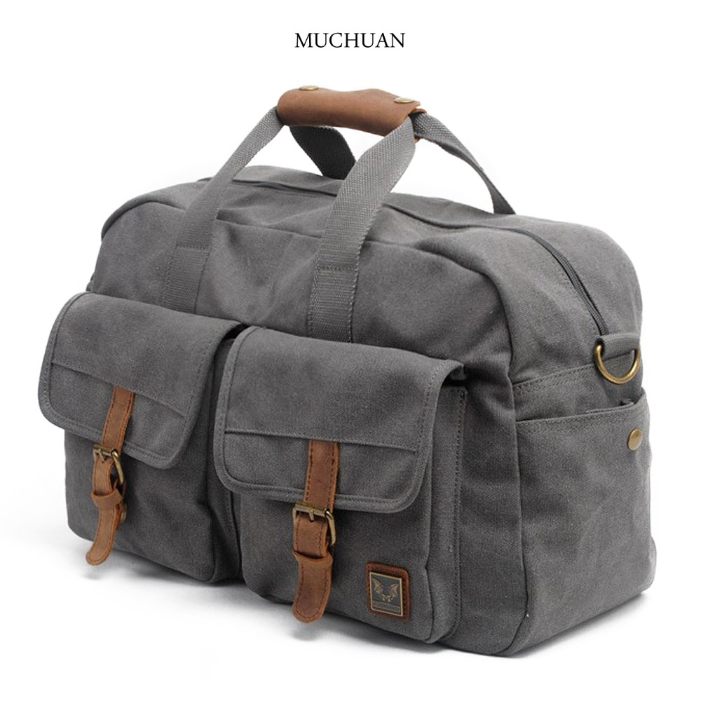 MUCHUAN travel bag Casual Canvas Leather Trim Tote Travel Duffel Overnight Bag цены