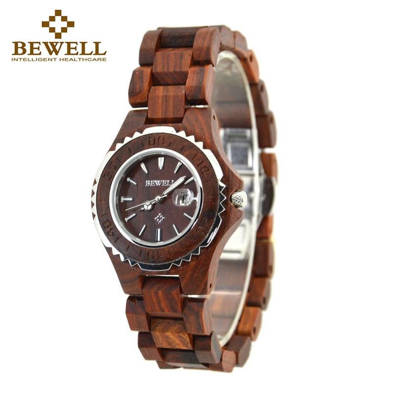 BEWELL nouveau Top marque Designer montre hommes pin complet en bois horloge érable bois japon mouvement Quartz montres bois cadeau boîte 100BL