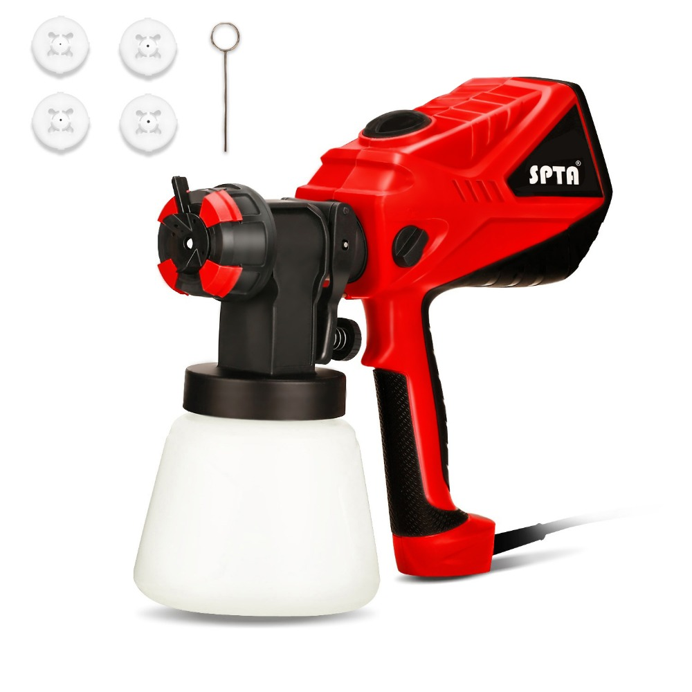 SPTA Advanced Electric Spray Gun 1000ML/Min Paint Sprayer+3 Spray Patterns 3 Nozzle Adjustable Valve Knob+Easy Filling Container spta red