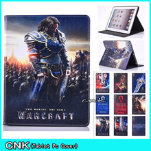 Vogue Design Movie World of Battle-craft PU Leather-based Cowl Case For Apple iPad 6 iPad Air 2 Shell Conque Capa Pill Case Cowl
