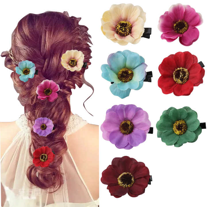 M MISM 1pc Fabric Flowers Hair Clip For Children Colorful Barrettes Hairpins Kids Scrunchie Gum For Hair Tie Hair Accessories