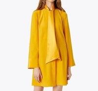 2018 fall and winter new fashion long ribbon collar long sleeve silk yellow dress women high end mini dress