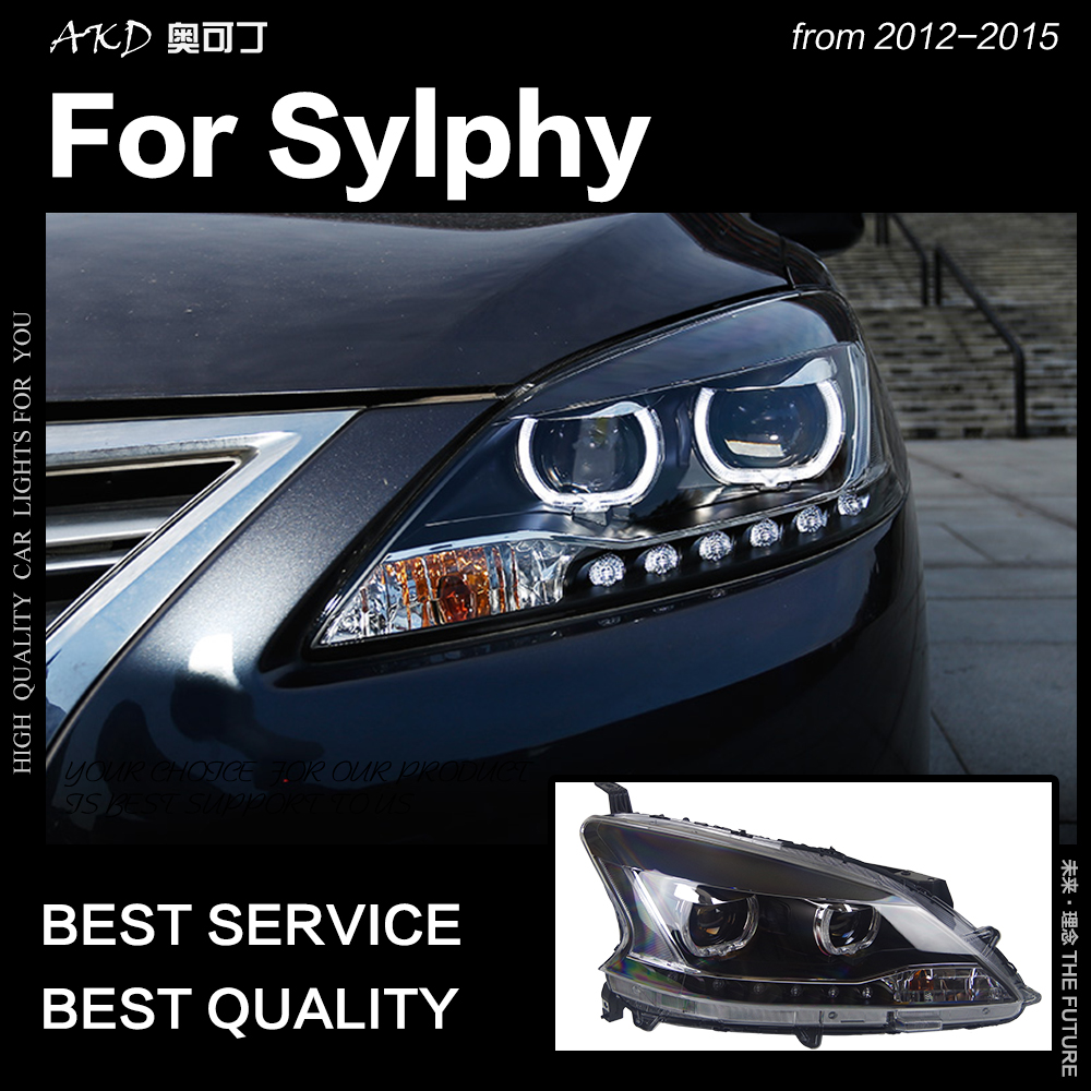 AKD Car Styling for Nissan Sylphy Headlights 2012 2015 Sentra LED Headlight DRL Hid Option Head