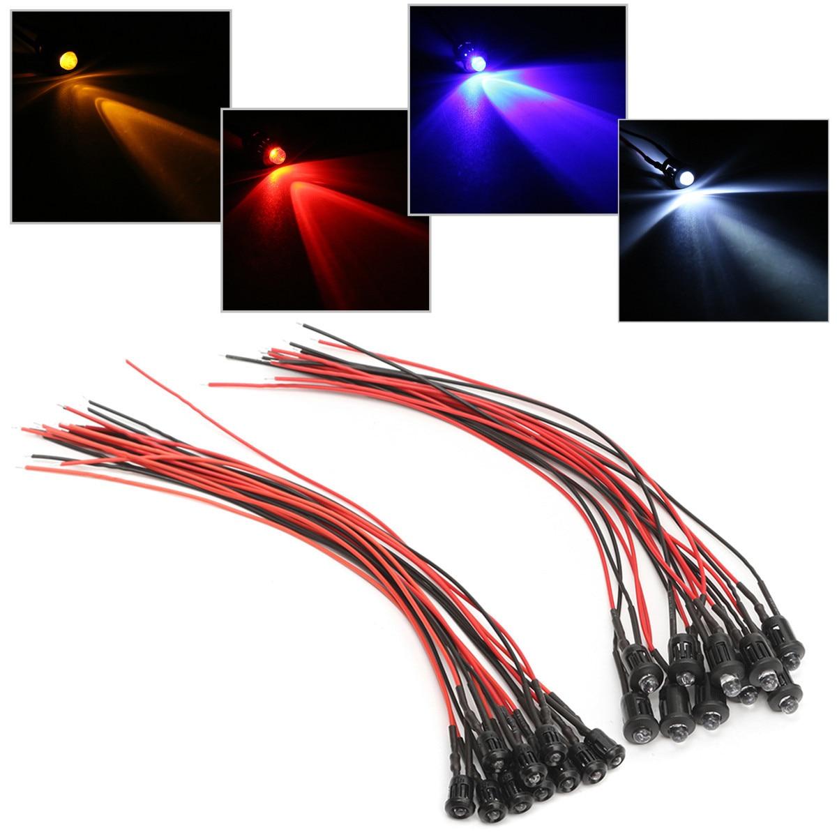 9v 6v 5v Pre-Wired 5mm LED/'s Various Colours Pack of 5 12v