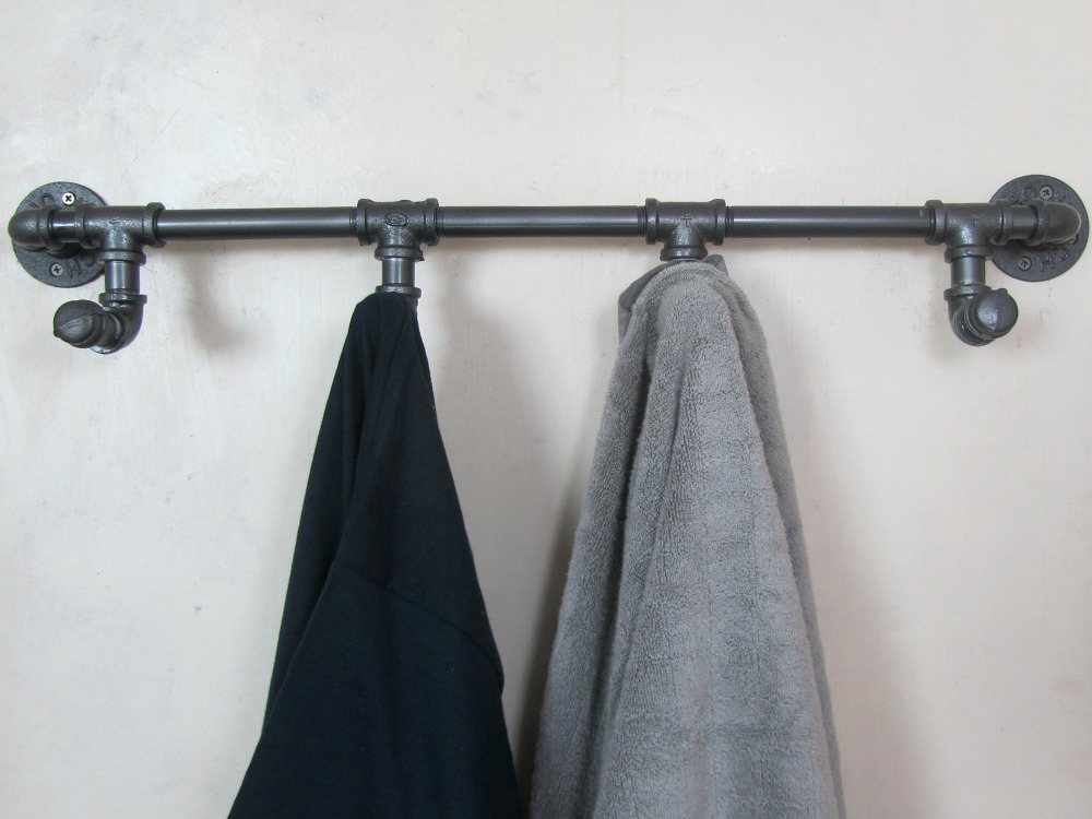 Industrial Retro Urban Rustic Iron Pipe Wall Mounted Towel Hook Rail Coat Rack Home Bedroom