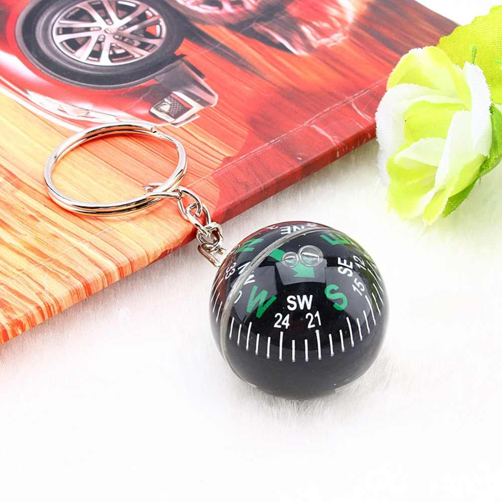 28mm Creative Ball Compass Keychain Liquid Filled Compass Hiking Camping Travel Outdoor Survival Tools Easy Carrying Ring