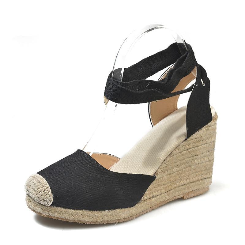 HTB1WkHSadfvK1RjSspfq6zzXFXav Women's Espadrille Ankle Strap Sandals Comfortable Slippers Ladies Womens Casual Shoes Breathable Flax Hemp Canvas Pumps