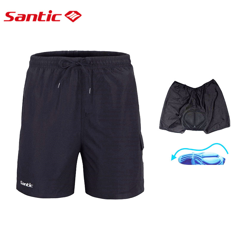 Santic Men's Cycling Shorts Summer Black Shorts Coolmax 3D Gel Padded Bike/Bicycle Outdoor Sports Shorts Quick Dry Breathable