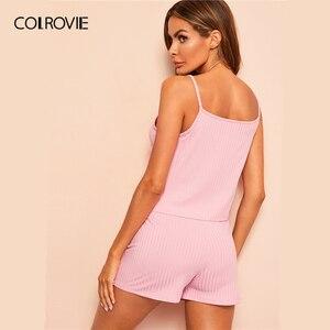 Image 2 - Colrovie conjunto de pijamas rosa cami, calção feminino sem mangas e de cordão, para o verão 2019