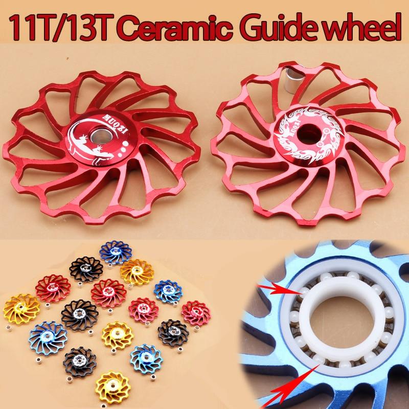 цена на MTB Road Bike cycling ceramics Jockey Wheel Rear Derailleur Pulley 11T 13T 7005 Aluminum alloy bicycle guide pulley bearing