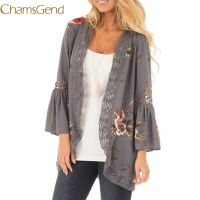 Chamsgend Newly Design Women Flowers Print Flare Sleeve Hollow Chiffon Lace Cardigan Gray Thin Coat 70919 Drop Shipping