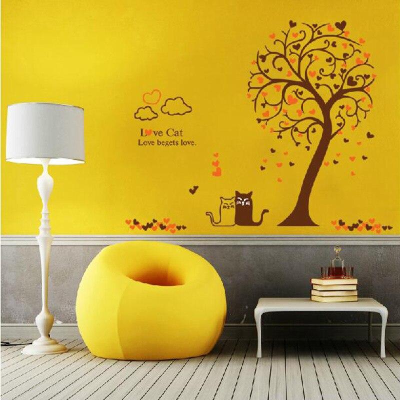 Adesivi Murali Low Cost.Us 19 0 Love Cat Tree Wall Sticker Tree Vinyl Wall Decal Adesivi Murali Glass Film Window Stickers Home Decoration Wall Art Wallpaper In Wall