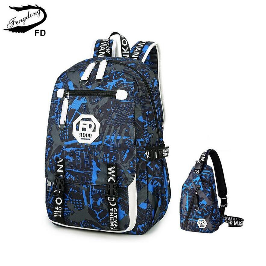 FengDong blue waterproof camouflage backpack for boy male chest bag set college men travel bags high school backpacks for boys  fengdong men backpack oxford youth fashion brand usb charge designer back pack college bags school bag waterproof backpacks male