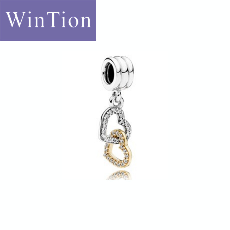 WinTion PAN100% Silver 925 Necklace Pendant Double Ring Buckle Love Female Necklace String Valentine's Day Christmas Gift