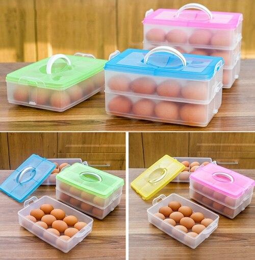 Hot Portable Picnic Camping Lock&Lock Airtight Storage Box Refrigerator Egg Box Case Holder Storage Container