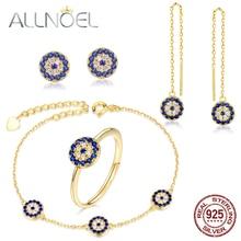 ALLNOEL Sapphire Jewelry Sets 925 Sterling Silver Ring Necklace Bracelet  Blue Corundum Gemstone Evil Eyes Wedding Fine Jewelry