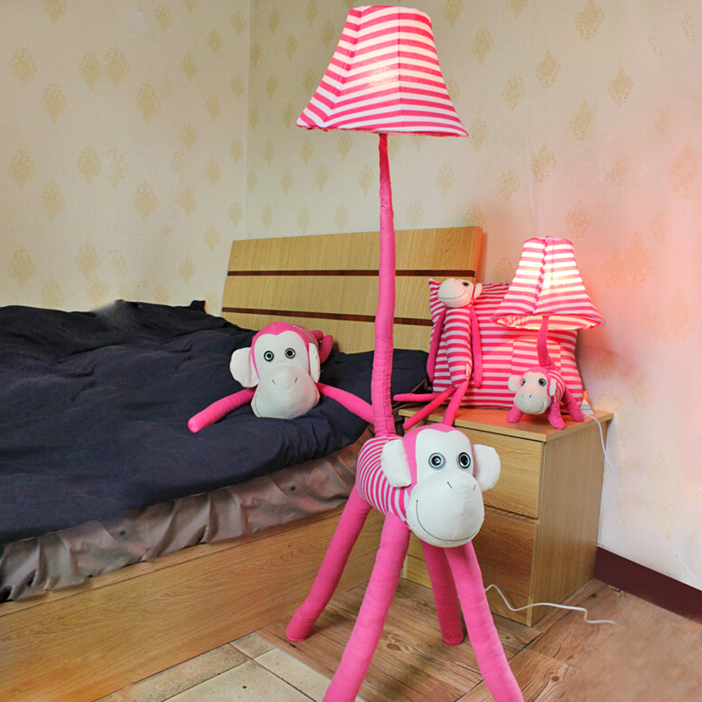 ФОТО High Quality 110V/220V E27 Children Room LightLuxurious Bedroom Design Kids Floor Lamp Led Cute Monkey Pink Bedside Lamp
