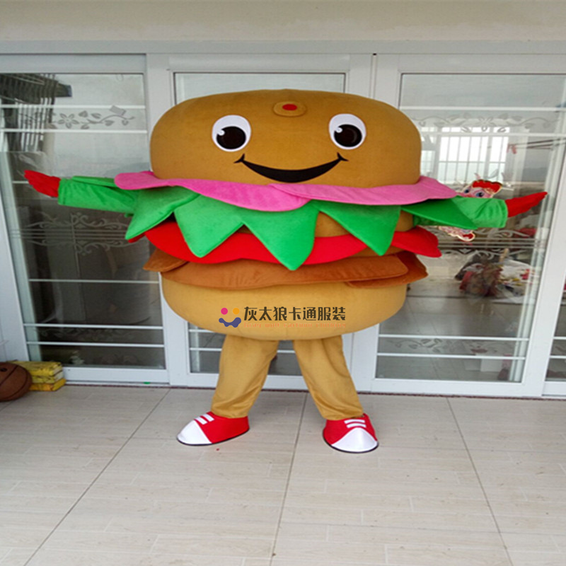 New Burger Mascot Costume Adult Size Cartoon Ham Hamburg Hamburger Fast Food Theme Anime Cosplay Costumes Carnival Fancy in Mascot from Novelty Special Use