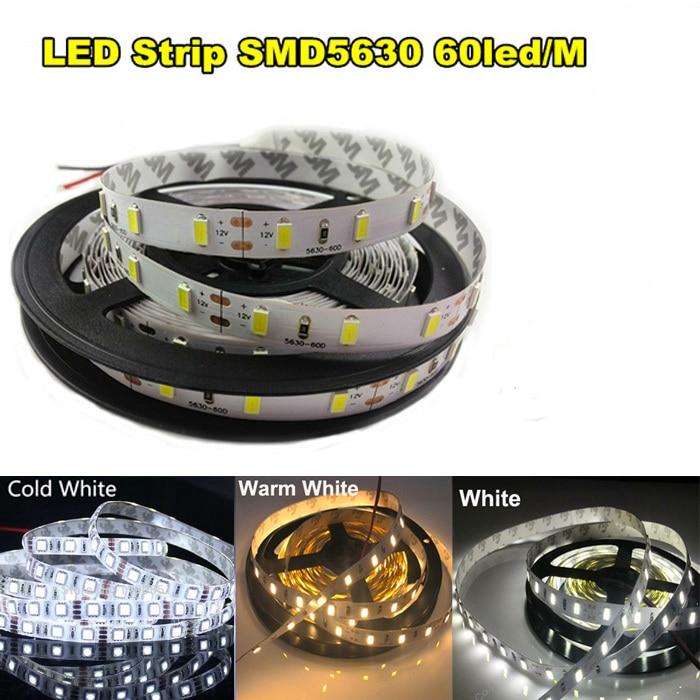 200m High Power R/G/B/White 5630 SMD LED Ribbon Tape Led Rope Light 5M DC12V LED Tape Non waterproof White flexible led strip