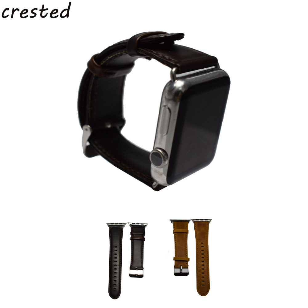 купить CRESTED Genuine leather watchband strap For Apple Watch band  42mm/38 & Crazy horse leather strap apple smart watch band 20/22mm по цене 471.48 рублей