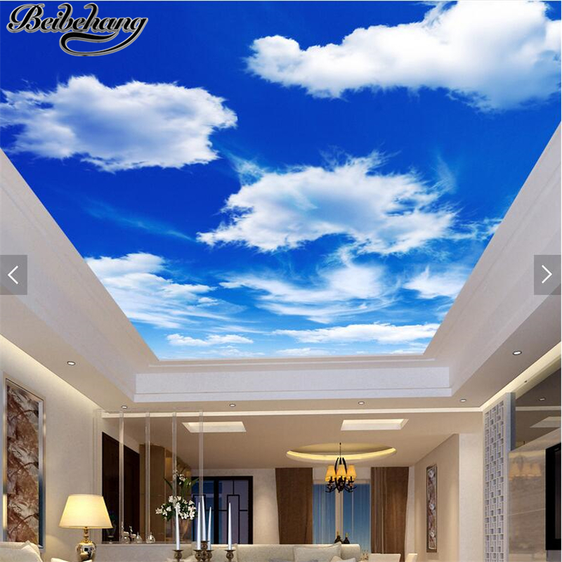 beibehang Custom Wallpaper Ultra High Definition Blue Sky White Cloud Wallpaper Living Room Ceiling Zenith Mural 3d Wall paper beibehang customize universe star large mural bedroom living room tv background wallpaper minimalist 3d sky ceiling wallpaper