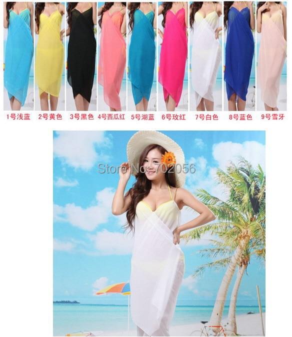 La Maillots À Bain Voile lot3828 D'été Solide Bikini Couleur Sarong Pcs Robe Mode Châle Vêtements Sexy 20 Plage Wrap De XiuOkZP