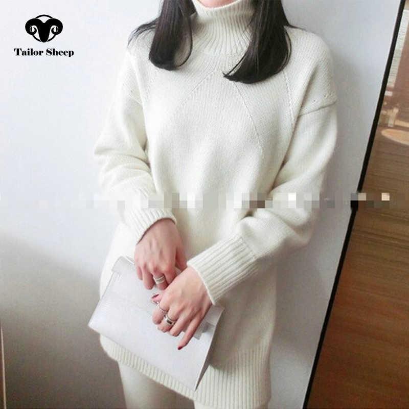 2018 새로운 스타일 순수 캐시미어 스웨터 여성 겨울 두꺼운 따뜻한 니트 느슨한 풀오버 여성 높은 칼라 분위기 outwear 스웨터