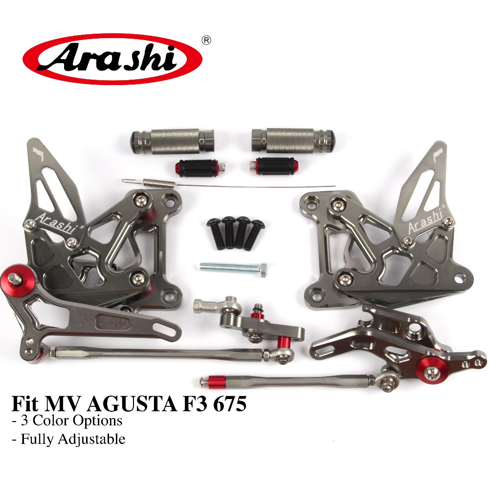 Arashi For MV AGUSTA F3 675 2012-2015 CNC Rider Rearset Adjustable Footrests Foot Pegs 675 EAS ORO Dragster 2012 2013 2014 2015 ergonomic new cnc adjustable right angled 170mm brake clutch levers for mv agusta f3 675 2013 2014