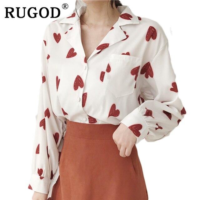 894f361ea93ee1 RUGOD 2018 Nowy Koreański Wiosna Lato Kobiet Topy I Bluzki Dorywczo kobiece  Czerwone Serce Druku koszulka