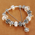 Silver Crystal Bead Charm Bracelet with Safety Chain for Women fit Brand Bracelets Russia & Brazil Jewelry