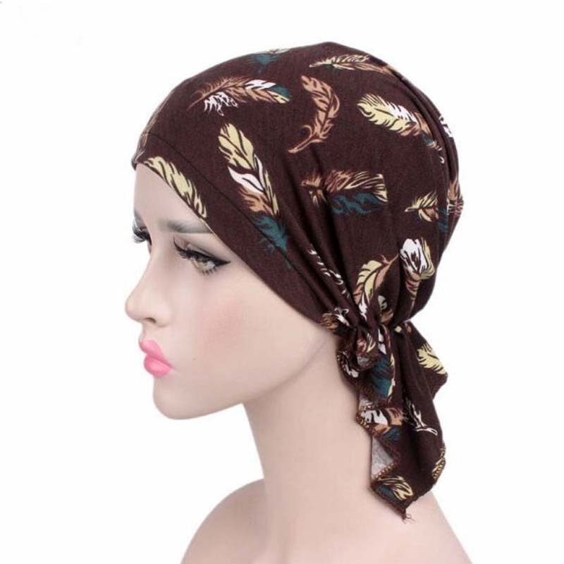 New Stretch Cotton Printing CHEMO CAP Pre-tie Style Spring Summer Brand Skullies Beanies Women Turban Chemotherapy Cap