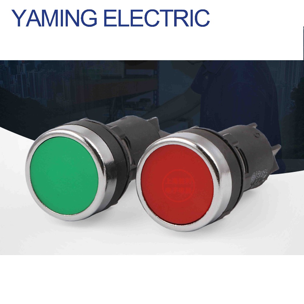 P185 22mm Momentary electrical Push button switch Green/Red 1NO 1NC 3 pins screws terminals LA39J-11B 660v ui 10a ith 8 terminals rotary cam universal changeover combination switch