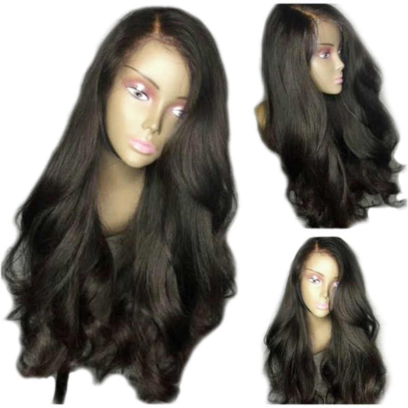 Full Shine Loose Wavy Wig Natural Black Color Brazilian Remy Human Hair Lace Front Wig 150% Density With Baby Hair For Women