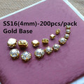 200pcs/pack SS16(4mm) 200pcs Glass Stones Gold Base Rhinestones Clear Crystal Sew On Rhinestones In Claw T02b