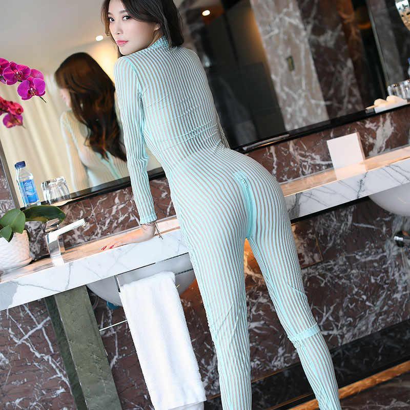 Vrouwen Lange Mouw Verticale Streep Volledige Bodysuits Dubbele Rits Hoge Elastische Crotchless Bodystocking See Through Vormgeven Bodysuit