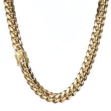 Granny Chic 12mm wide Stainless Steel Cuban Miami Chains Necklaces Polished Gold Chain for Men Hip Hop Rock jewelry
