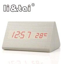 Li&Tai Wood LED Digital Alarm Clock Temperature Sounds Control Calendar Display Electronic Desktop colorful Table