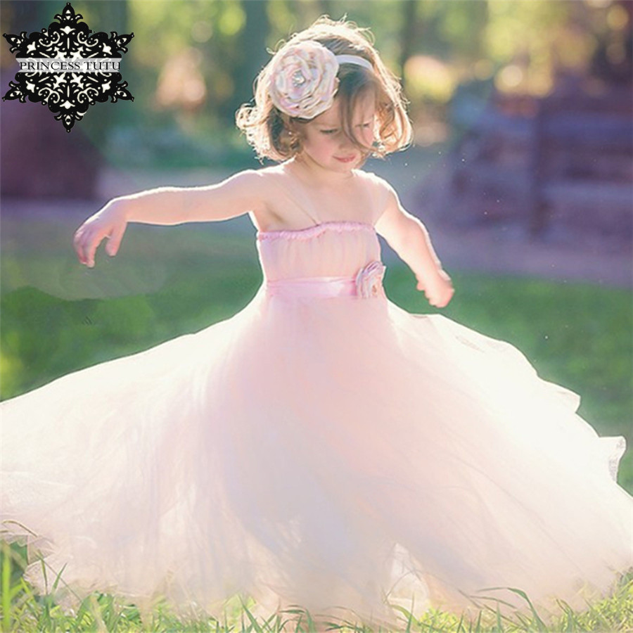 Princess Tutu Blush Flower Girl Dress with Floral Sash Tulle Straps Girl Dresses Wedding Party Dress Prom Evening Clothing