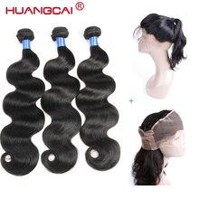 Перуанские волнистые 360 кружевные фронтальные волосы, с 3 пучками натуральных волос, не Реми, 4 шт./лот, Huangcai