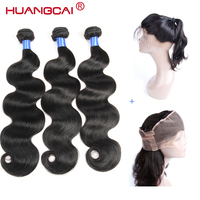 Peruvian Body Wave 360 Lace Frontal Pre Plucked With 3 Bundles Human Hair Weave Natural Color Non Remy 4 pcs/lot Huangcai
