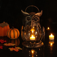 Owl Tealight Holder Hurricane Candleholders Hanging Lantern For Outdoor Indoor Party Decor Wedding Gift Gold