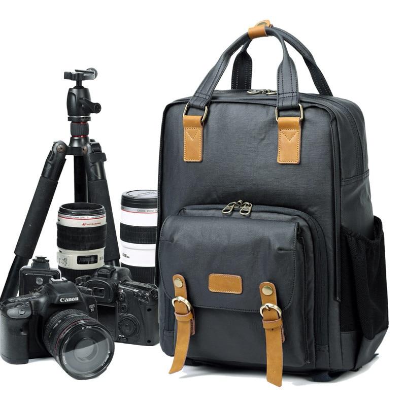 Professional Retro Fashion Casual Waterproof Canvas Camera Tripod Bag Photography Tripod DSLR Backpack for Canon Nikon Song SLR цена