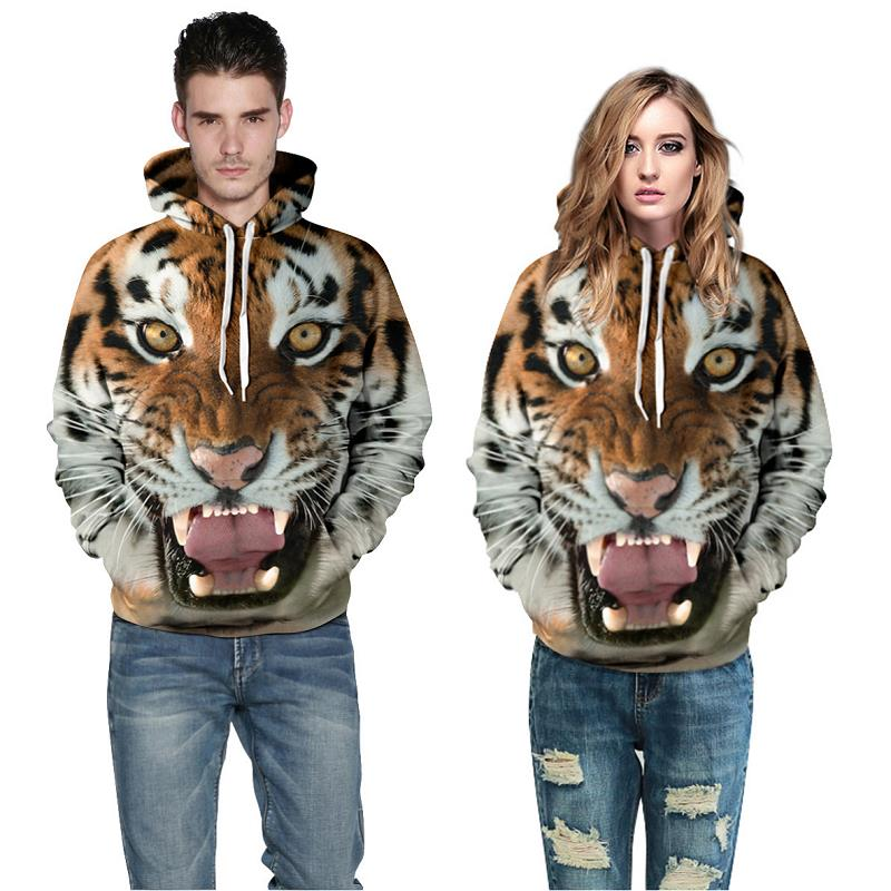 2016 Autumn Winter Women Casual Tiger Hoodies Unisex Lapel Hooded New Sweatshirts Pullovers For Man Hoodies Long Sleeve Hoody